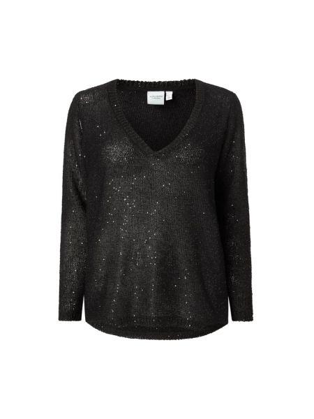Prążkowany czarny sweter z cekinami Junarose