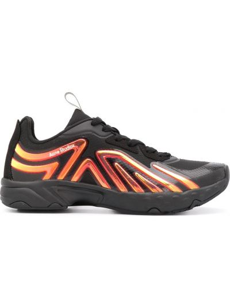 Zamsz ażurowy czarny sneakersy z siatką Acne Studios