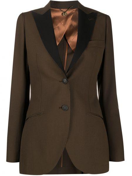 Коричневая куртка на пуговицах с подкладкой с лацканами Maurizio Miri
