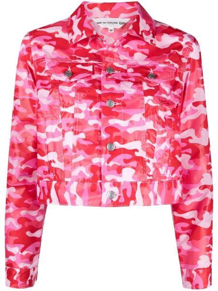 Нейлоновая розовая короткая куртка с воротником Comme Des Garçons Girl