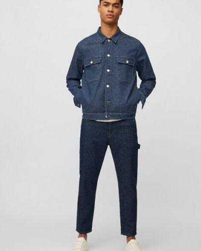 Niebieska kurtka jeansowa bawełniana zapinane na guziki Marc O Polo