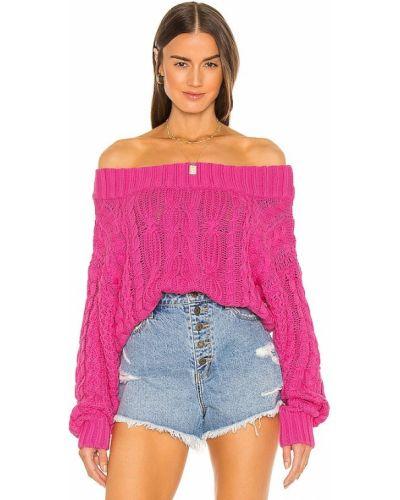 Хлопковый открытый розовый длинный свитер John & Jenn By Line