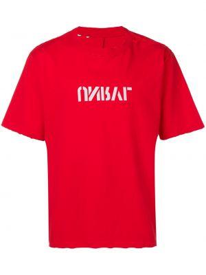 Красная хлопковая футболка свободного кроя с круглым вырезом Unravel Project