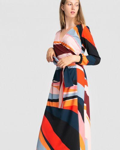 Платье с запахом осеннее Grass