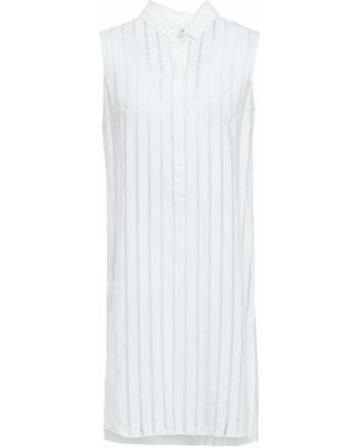 Biała tunika w paski z wiskozy Akris