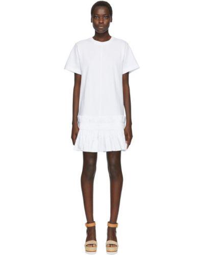 С рукавами трикотажное белое платье-рубашка с воротником See By Chloé