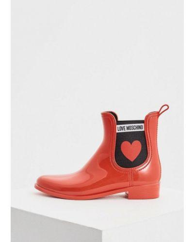 Красные полусапожки 2018 Love Moschino