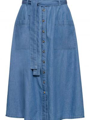Джинсовая юбка на пуговицах с поясом Bonprix