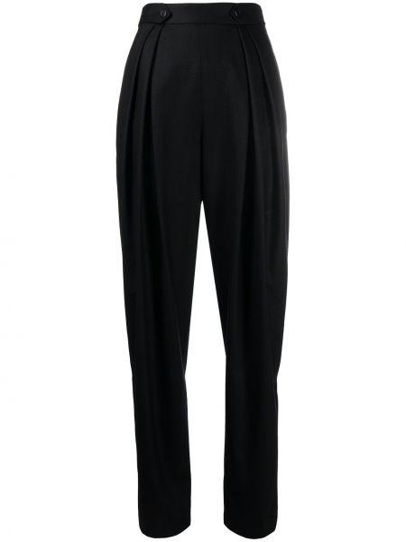 Черные плиссированные брюки со складками с высокой посадкой Alberta Ferretti