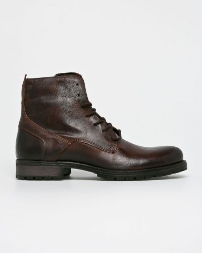 Ботинки на шнуровке кожаные высокие Jack & Jones