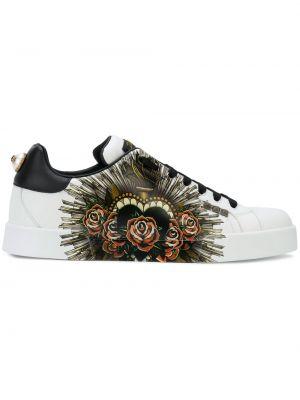Klasyczne czarne sneakersy skorzane Dolce And Gabbana