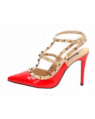Czerwone sandały skorzane w szpic Vices