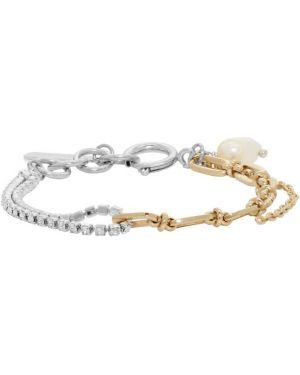 Bransoletka ze złota z kryształami swarovskiego z perłami Justine Clenquet