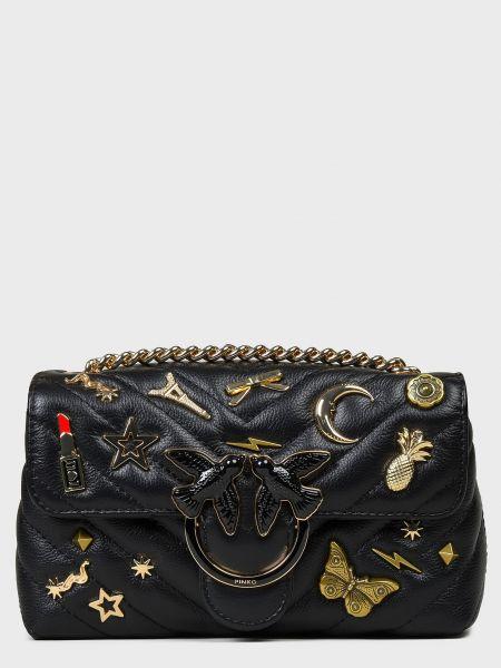 Черная текстильная кожаная сумка с карманами Pinko