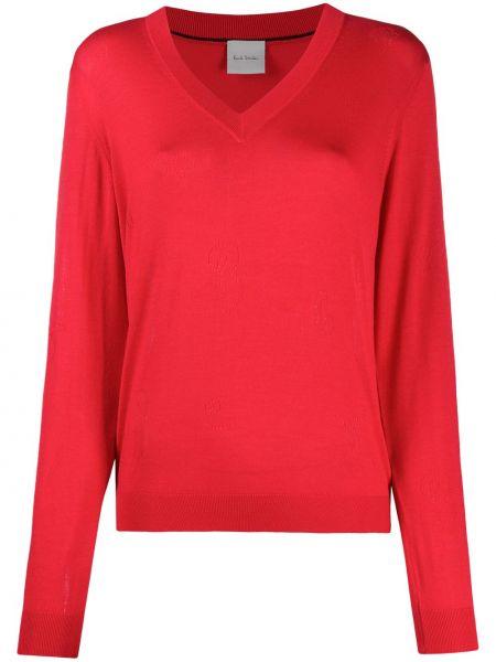 Красный шерстяной вязаный длинный свитер Paul Smith