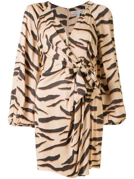 Платье макси с V-образным вырезом на молнии с длинными рукавами с манжетами Shona Joy