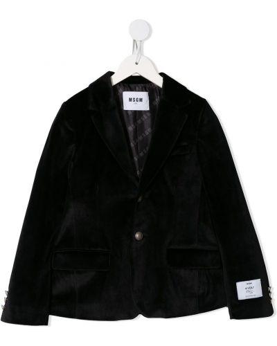 Приталенный бархатный черный классический пиджак с заплатками Msgm Kids