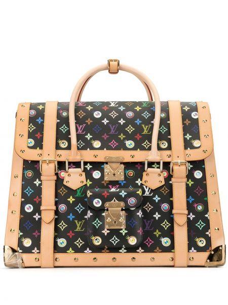 Черная парусиновая кожаная сумка с заклепками круглая Louis Vuitton