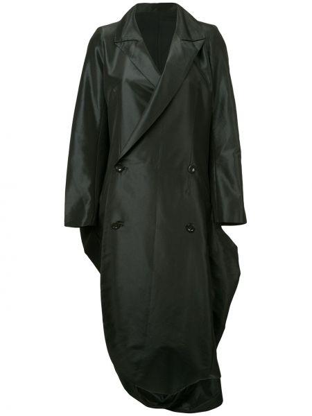 Черное длинное пальто с капюшоном на пуговицах Yohji Yamamoto Pre-owned