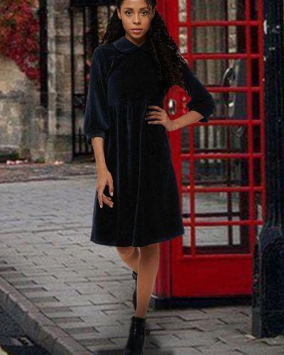 Повседневное приталенное платье миди с воротником вельветовое Mix-mode