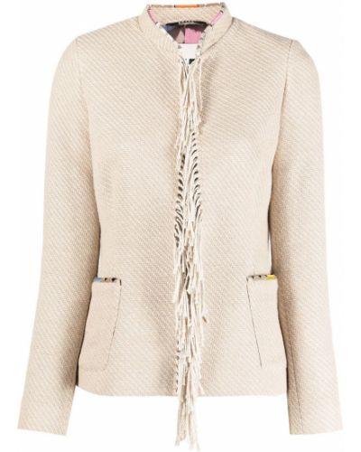 Хлопковый удлиненный пиджак с накладными карманами с бахромой Bazar Deluxe