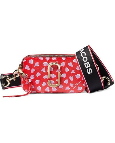 Czerwona torba na ramię skórzana z paskiem Marc Jacobs