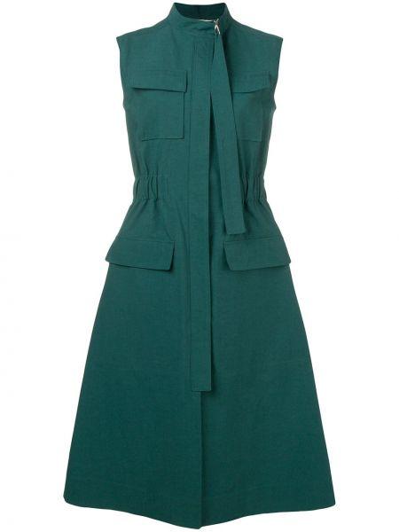 Zielona sukienka midi rozkloszowana bez rękawów Cedric Charlier