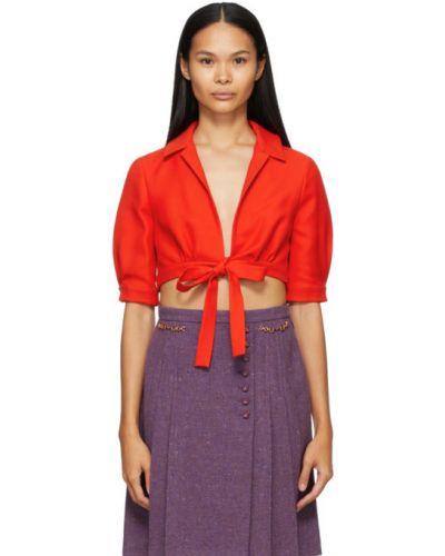 Jedwab czerwony z rękawami bluzka z kołnierzem Gucci