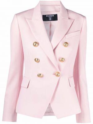 Блейзер длинный - розовый Balmain