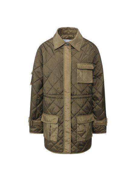 Стеганая куртка нейлоновая зеленая Ganni