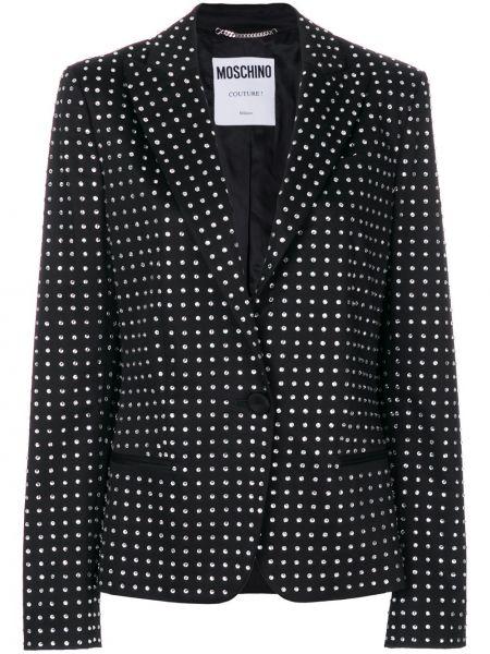 Черный пиджак на пуговицах с лацканами Moschino