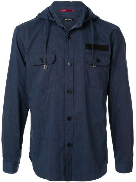 С рукавами синяя рубашка на пуговицах с капюшоном Loveless