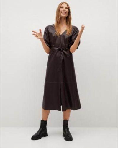 Кожаное с рукавами пышное платье мини Mango