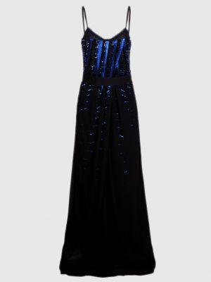 Черное платье макси с пайетками Roberto Cavalli