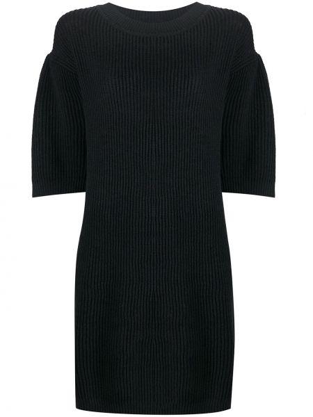 Черное прямое платье мини в рубчик с вырезом See By Chloé