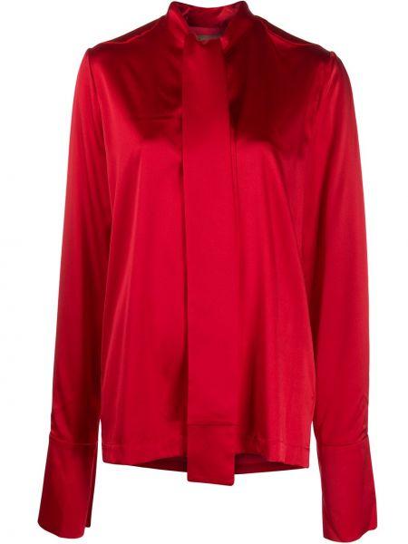 Шелковая красная блузка с длинным рукавом с бантом на пуговицах Matériel