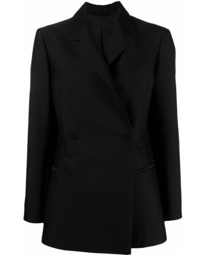 Шерстяной черный удлиненный пиджак двубортный Toteme