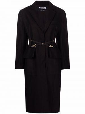 Długi płaszcz wełniany - czarny Jacquemus