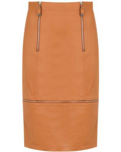 Кожаная юбка - коричневая Tufi Duek