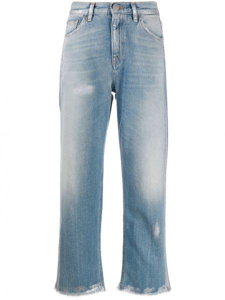 Укороченные джинсы синие на пуговицах Haikure