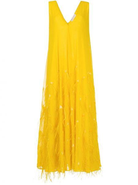 Желтое шелковое вечернее платье с перьями Emilio Pucci