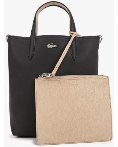 Кожаная черная сумка с ручками Lacoste