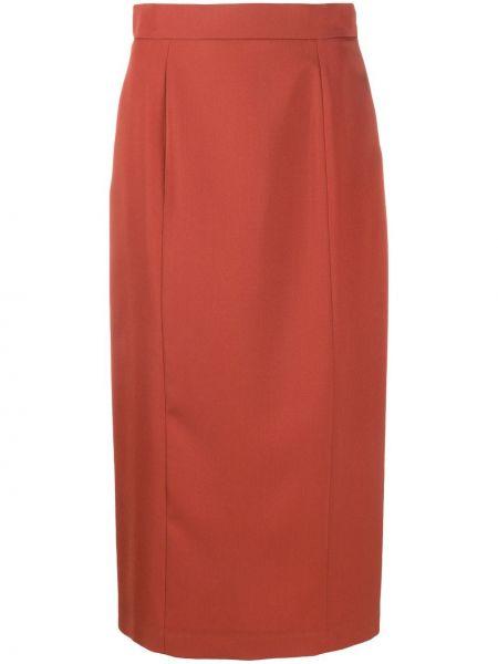 Оранжевая шерстяная юбка карандаш с разрезом Rochas