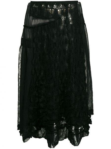 Черная юбка миди на молнии с вышивкой прозрачная Comme Des Garçons Pre-owned