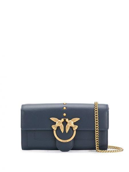 Золотистая синяя сумка через плечо на молнии с карманами Pinko