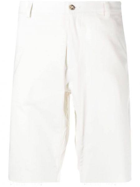 Białe szorty chinosy bawełniane z paskiem Omc