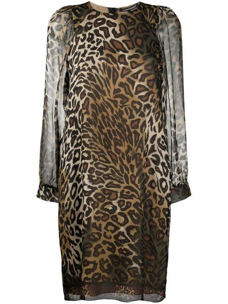 Шелковое платье макси - коричневое Luisa Cerano