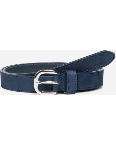 Кожаный синий тонкий ремень с пряжкой с тиснением Marc O`polo