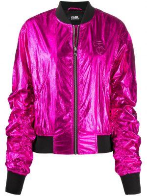 Z rękawami różowy długa kurtka z mankietami metal Karl Lagerfeld