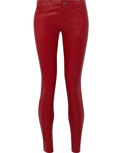 Малиновые кожаные брюки Muubaa